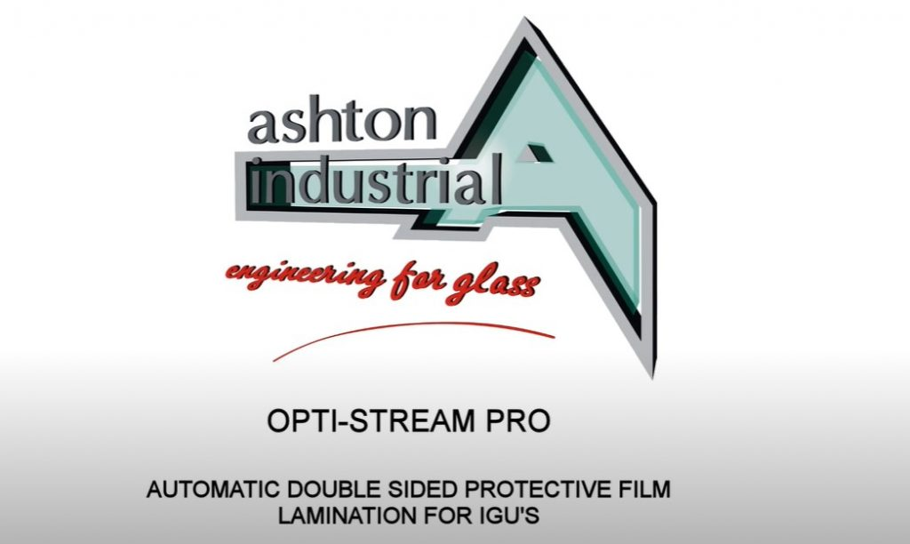 Ashton Industrial Opti-Stream PRO – Double sided heavy duty professional film laminator with automatic border trimming for random size IGU's.